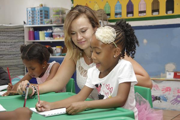 Teacher with child